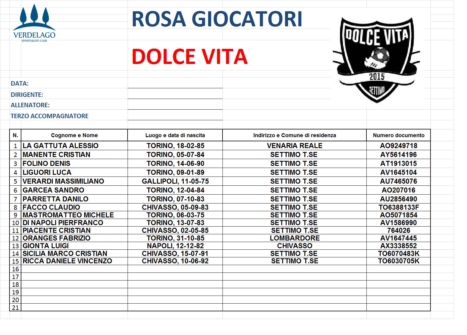 Calendario Torneo A 7 Squadre.Campionato C8 2019 20 Verdelago