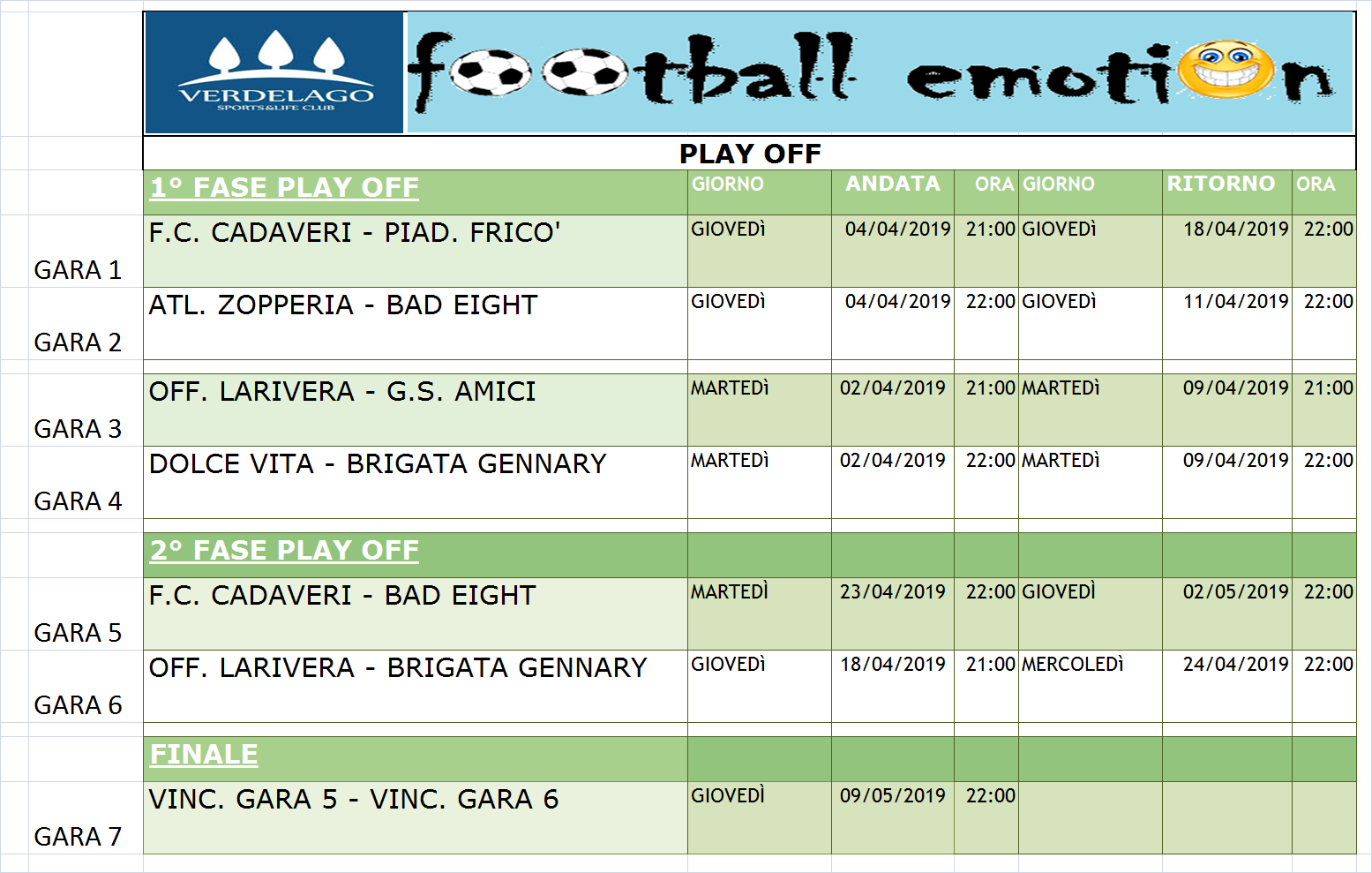 Calendario Play Off.Calendario Play Off 19 04 19 Verdelago